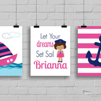 Nautical Decor - Nautical Nursery Decor, Girl Sailor, Girls Room Decor, Anchor Decor, Sailboat, Set of 3 Prints