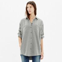 FLANNEL OVERSIZED BUTTON-DOWN SHIRT IN HEATHER CLOUD