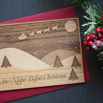 Wooden Christmas Card - Twas the Night Before Christmas - Winter Scene - Santa Claus
