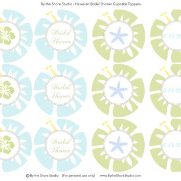 Hawaiian Bridal Shower Cupcake Toppers - Blue