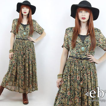 Vintage 90s Green Floral Maxi Dress S M 90s Floral Dress Hippie Dress Hippy Dress Floral Duster Indian Dress Festival Dress Floral Dress