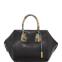 Stella McCartney Cavendish Boston Faux-Python Satchel Bag, Black