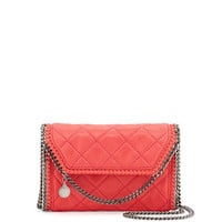 Stella McCartney Falabella Quilted Flap Shoulder Bag, Bright Coral