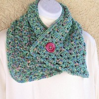 Button Scarflette, crocheted in Green Meadow Medley soft yarn from Jan4insight