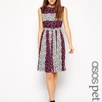 ASOS Petite | ASOS PETITE Exclusive Midi Dress in Lace Print with Open Back at ASOS