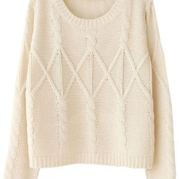 Chic Solid Cable Knit Sweater - OASAP.com