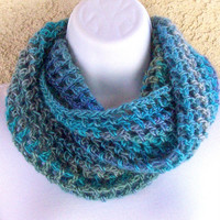 Infinity Moebius Scarf, spiral crocheted in Tidal blue and green stripes from Jan4insight