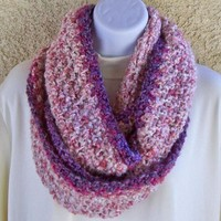 Winter Infinity Moebius Scarf, crocheted, chunky, extra long - Creamy Plum, from Jan4insight