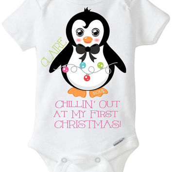 My First 1st Christmas Baby Girl Onesuit Shirt 2014 - Personalized with name Penguin with Holiday Lights Chillin' out at my first Christmas