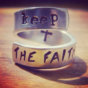 Keep the faith cross inside aluminum spiral ring