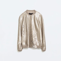 Mixed knit sequinned bomber