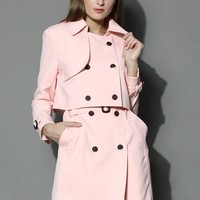 Creamy Pink Double-breasted Twinset Trench Coat Pink