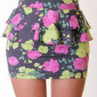 BLACK FLORAL PEPLUM SKIRT @ KiwiLook fashion