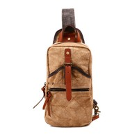 CrazyPomelo Vintage Casual Canvas & Cow Leather Waterproof Chest Bag/Travelling Bag