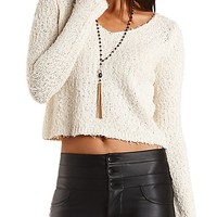 Fuzzy Cropped Pullover Sweater by Charlotte Russe - Ivory