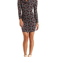 Printed Cowl Neck Bodycon Dress by Charlotte Russe - Burgundy Cmb