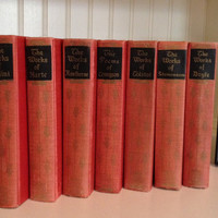 Elegant Antique Library of 7 Classic Red Books Printed in Black and Gold; ('20s-'30s). Doyle, Tennyson, Hawthorne, Cellini, Tolstoi
