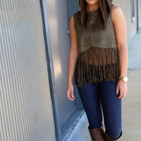 Suede With Me {Fringe - Olive}