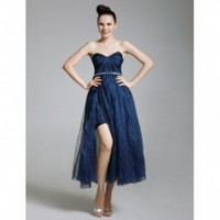 Tulle Organza A-line Sweetheart Tea-length Evening Dress inspired by Senera in Gossip Girl - $129.99