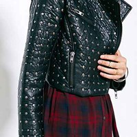 Pins And Needles Allover Studded Moto Jacket - Urban Outfitters