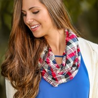 Preppy To The Max Plaid Infinity Scarf-Cranberry