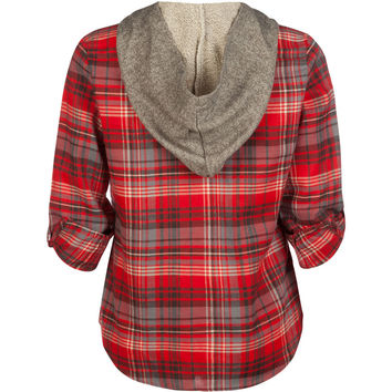 MIMI CHICA Plaid Girls Hooded Flannel Shirt 239071349 | Flannels & Plaids