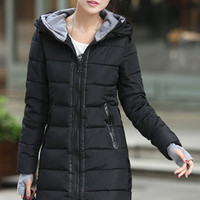 Long Thick Cotton Hooded Down Jacket Coat * Free Shipping *