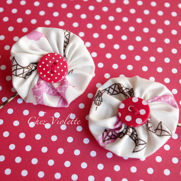 Yoyo Hair clips, Red button hair pins, fabric Bobby pins, hair accessory, children hair pins