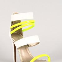 Neon and Snake Leatherette Strappy Open Toe Heel