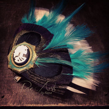 Teal, Black and White Skull Hair Accessory or Brooch