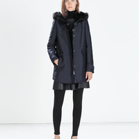 Faux fur hooded duffle coat with toggles
