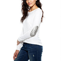 Super-Soft Sequin Elbow Patch Top