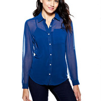 Solid Chiffon Button-Down Shirt