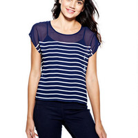 Mariner Stripe Zip-Back Top