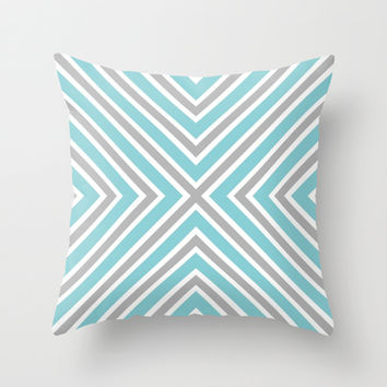 Blue Gray And White Stripes Throw Pillow by KCavender Designs