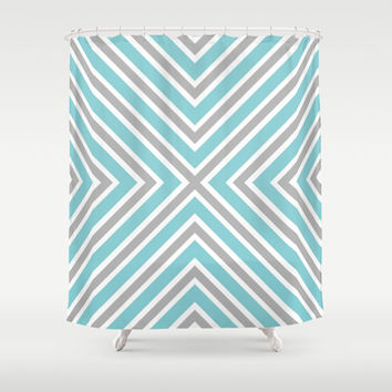 Blue Gray And White Stripes Shower Curtain by KCavender Designs