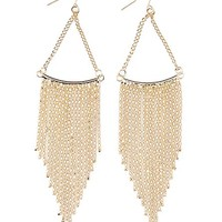 Gold Chain Fringe Earrings by Charlotte Russe - Gold