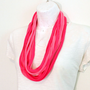 Eternity Scarf, Bright Pink Girly Fabric Scarf Necklace, Infinity Scarf, Circle Scarf, Upcycled Scarf