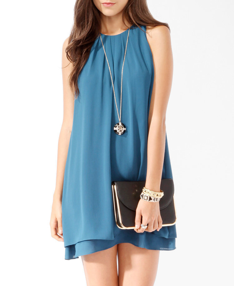 Layered Pleated Swing Dress