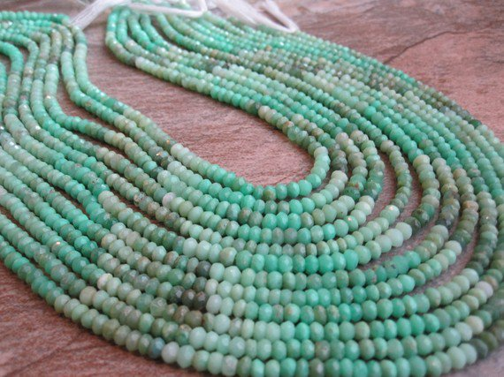 Chrysoprase Faceted Rondelles by loveofjewelry on Etsy
