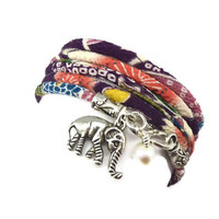 Lucky Elephant Charm Wrap Bracelet made with Japanese Chirimen Cord, yoga jewelry, wrapped wrapping bracelet, wrap around