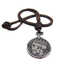 soft leather long necklace metal pendant men leather long necklace, women leather necklace  PL0231