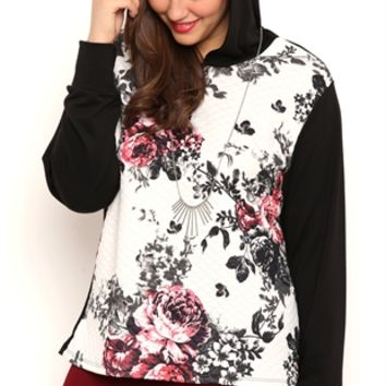 Plus Size Long Sleeve Quilted French Terry Hoodie with Floral Print
