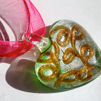 Glass Heart Pendant with Organza Ribbon Necklace and Lobster Clasp