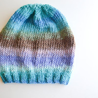 Pastel Multicolored Knit Slouchy Beanie - Ready to Ship