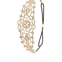 Rhinestone Flower Headpiece by Charlotte Russe - Gold Combo