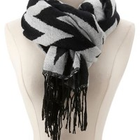 Chevron Fringe Scarf by Charlotte Russe - Black Combo