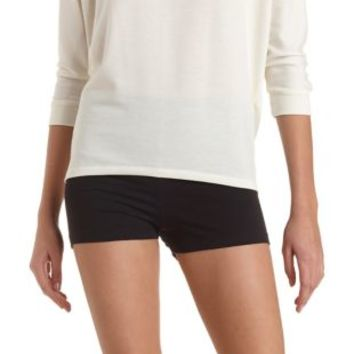 High-Waisted Bike Shorts by Charlotte Russe - Black