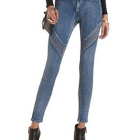 Quilted Skinny Moto Jeans by Charlotte Russe - Med Wash Denim