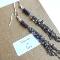 Blue Kyanite and Tanzanite Nugget Fringe Earrings - 925 Oxidized Sterling Silver Chain Mixed Metals Modern Dangle Drop Statement Earrings